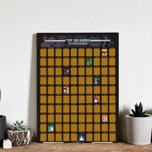 Bucket List Scratch Off Poster Premium Artistic Icons Top 100 Anime Poster