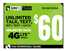 Simple Mobile $60 Preloaded Dual or Nano Sim Card 1st Month Included Unactivated