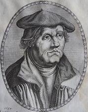 MARTIN LUTHER... Portrait. Gravure originale 1650.