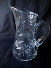 "Lead Crystal Pitcher 24% Bohemian  Handcut 10"" Tall Star Design 6"" Base 1930's"