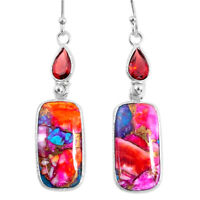 14.80cts Spiny Oyster Arizona Turquoise Garnet 925 Silver Dangle Earrings R62405