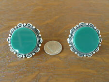 Vintage EMU Mexico Sterling Silver Large Green Glass Screw Back Earrings