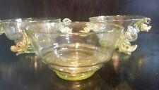 Antique Set of 3 Venetian Murano Salviati Glass Bowls W Applied Blown Dolphins
