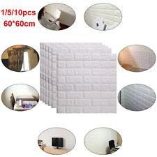 10Pcs 3D Tile Brick Wall Sticker Self-adhesive Waterproof Foam Panel 60*60cm