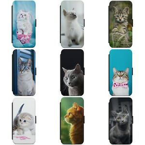CUTE CAT KITTEN FUNNY CATS KITTY WALLET FLIP PHONE CASE COVER FOR HUAWEI MODELS