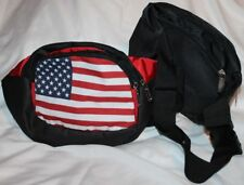 SPORTS ZIPPER LIGHTWEIGHT NYLON FANNY WAIST PACK FLAG BLACK RED COMPARTMENTS