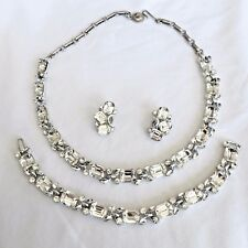 High-End LISNER Emerald Cut Rhinestone Necklace Bracelet Earrings Brooch Set