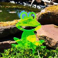 SunCatcher: Happy Frog   GLOWING GARDEN DECORATION   fluorescent garden stake