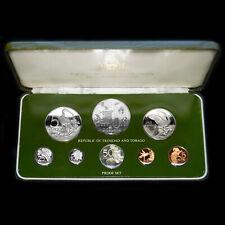 1977 TRINIDAD & TOBAGO PROOF SILVER (8 COIN) PROOF SET FRANKLIN MINT + BOX + COA