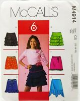 Girls Skirt Sewing Pattern M4914 Size 12 14 16 McCalls 6 Styles Easy
