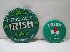 Vintage Officially Irish On St. Patrick'S Day & Irish At Heart Pinback Buttons
