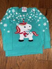 Christmas Holiday Ugly Sweater Toddler Girls Unicorn Size 3T