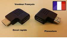 Adaptateur HDMI Mâle-Femelle 90° Angle droit Droite Horizontal . Neuf  FR 2-10