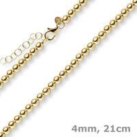 4mm Kugel-Armband Armschmuck Armkette mit Verlängerung, 585 Gold Gelbgold, 21cm