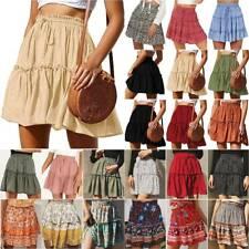Boho Womens Ruffled Short Mini Skater Skirt Womens Plus Size Flared A-Line Skirt
