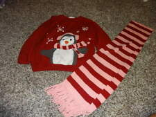 JANIE AND JACK 3T RED PENGUIN SWEATER AND SCARF 4T AND UP HOLIDAY