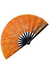 New Daftboy Citrus Sunburst Festival Rave Party Fan in Sparkle Orange Print-Sale