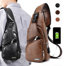 Men's Leather Shoulder Bag Sling Chest USB Charging Sports Crossbody Handbag