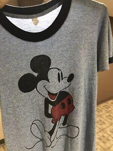 S Vtg 70s 80s Mickey Mouse Disney Single Stitch Surf Skate Blue Ringer T-Shirt S