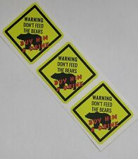 Warning - Don't feed the Bears  - Bear Pride  - Gay Interest -sm Vinyl Stickers