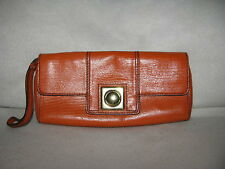 BANANA REPUBLIC Orange Leather Wristlet Clutch Purse