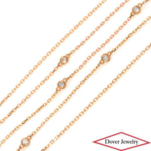 Estate 0.36ct Diamond 18K Gold 18'' Long Station Necklace NR