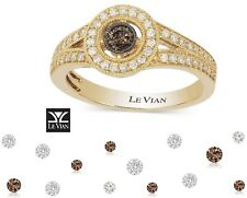 New LeVian Engagement 14K Gold Vanilla & Chocolate Diamond .5TCW Ring 60% Off