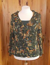 UNA verde oliva amarillo óxido PER Floral de gasa manga larga Blusa Camisa Top 16