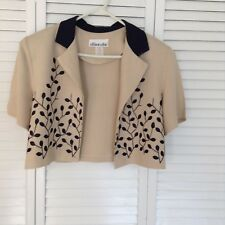 "LADIES ""ALLISON-CHE"" JACKET,TAN WITH NAVY DESIGN AND COLLAR,SHORT SLEEVES SZ 14"