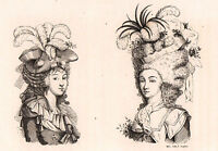 Gravure de Mode Coiffure Révolution Française Coiffeur Hair Hairdresser 1857