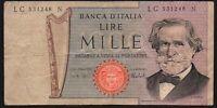 1969-81 Italy 1000 Lire Banknote * LC 531248 N * aF * P-101 *