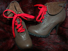 New Sz 6 Chocolate Brown Faux leather Fur Cuff Red Lace High Heel Boots Heels
