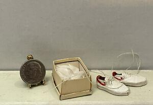 Vintage Artisan S ROUNTREE Leather Sneakers & Box Dollhouse Miniature 1:12