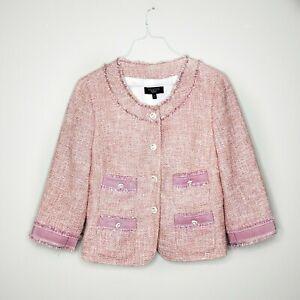 Talbots Tweed Blazer Jacket Pink Button Front Career Business 10P Petites