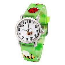 3D Cartoon Bee Waterproof Wrist Watch For Kids Boys Girls Rubber Analog X-mas US