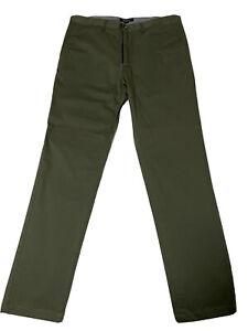 Aquila Mens Chino Size 34 Olive Green - European (Italian) Fabric New