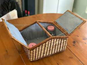 Vintage / Fold Out Picnic Style Hamper Basket with Glasses / Wicker / Willow