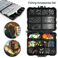 188PC Fishing Accessories Kit set with Tackle Box Pliers Jig-Hooks Swivels