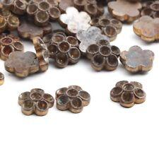 Vintage Deco Czech solid metal rhinestone flower settings findings (48) 7mm