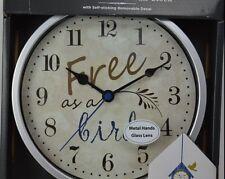 FREE AS A BIRD WALL CLOCK SILVER WALL DECAL BIRDHOUSE GLASS METAL HANDS GREY