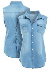 Maglie e camicie da donna blu floreale senza maniche