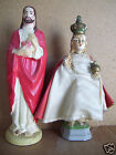 "Very Old 8.5"" Infant of Prague & Jesus Sacred Heart 8.5"" Figurines"