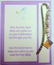 Confirmation Bookmark Keepsake Gift made with White Pearl Beads and Bible