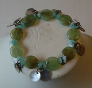 Jade Elasticated Bracelet trimmed with Mother of Pearl Shell
