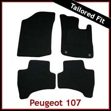 PEUGEOT 107 2005-2014 2-eyelets Tailored Fitted Carpet Car Floor Mats BLACK