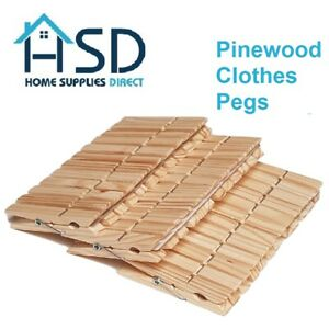 Wooden Clothes Pegs Clips Pine Wood Washing Line Airer Laundry Sprung Garden Peg