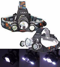 TORCIA LAMPADA FRONTALE LED RICARICABILE 3 LED 5000 LUMEN CREE T6 R5 RJ3000