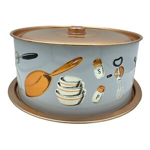 Weibro Copper Metal Cake Pan Carrier with Kitchen Utensils Kitschy MCM USA