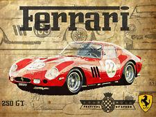 "Ferrari 250GT, Retro metal Sign/Plaque, Gift, Home, Garage 10"" x 8"" Large"