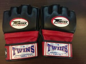 Size L Twins Special Mixed Martial Arts boxing fingerless gloves black leather